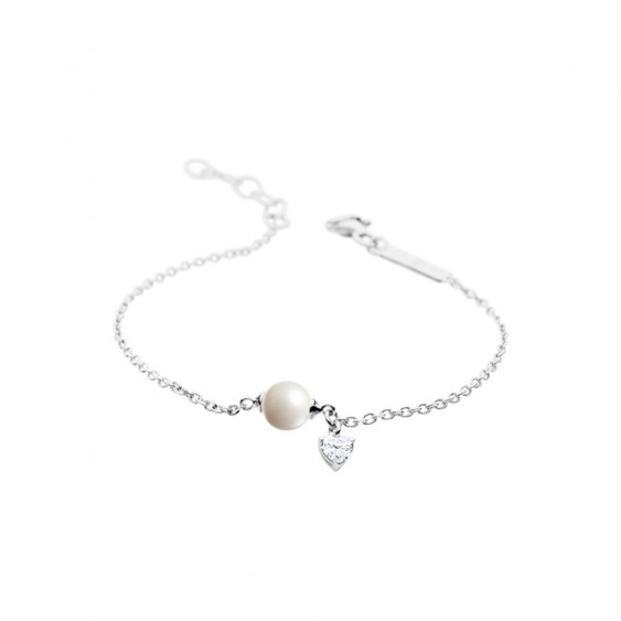 Elsa Lee Paris sterling silver chain bracelet with a 8mm white pearl, one Cubic Zirconia 20cm diameter