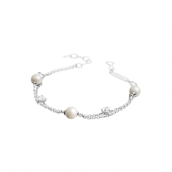 Elsa Lee Paris sterling silver chain bracelet with 3 8mm white pearls, 20cm diameter