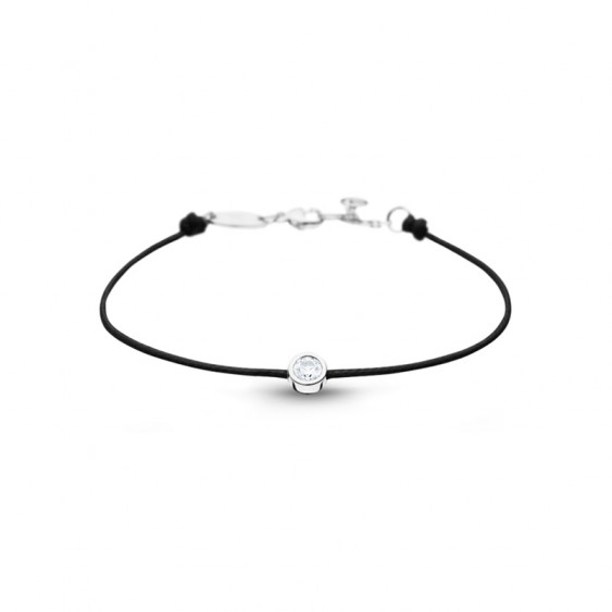 Clear Spirit bracelet from Elsa Lee Paris: one close set Cubic Zirconia on a black cotton waxed lace