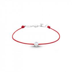 Bracelet Clear Spirit Elsa Lee Paris, oxyde de Zirconium serti clos sur cordon ciré rouge