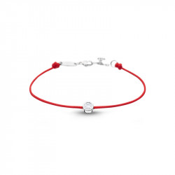 Clear Spirit bracelet from Elsa Lee Paris: one close set Cubic Zirconia on a red cotton waxed lace