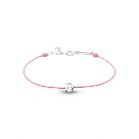 Bracelet Clear Spirit Elsa Lee Paris, oxyde de Zirconium serti clos sur cordon ciré rose