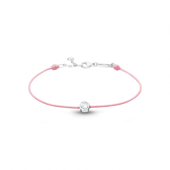 Clear Spirit bracelet from Elsa Lee Paris: one close set Cubic Zirconia on a pink cotton waxed lace