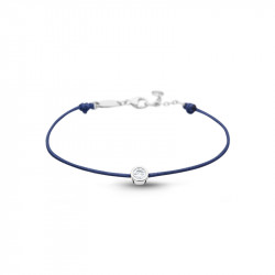 Clear Spirit bracelet from Elsa Lee Paris: one close set Cubic Zirconia on a blue cotton waxed lace