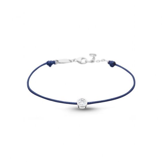 Clear Spirit bracelet from Elsa Lee Paris: one close set Cubic Zirconia on a blue cotton waxed lace