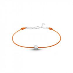 Bracelet Clear Spirit Elsa Lee Paris, oxyde de Zirconium serti clos sur cordon ciré orange