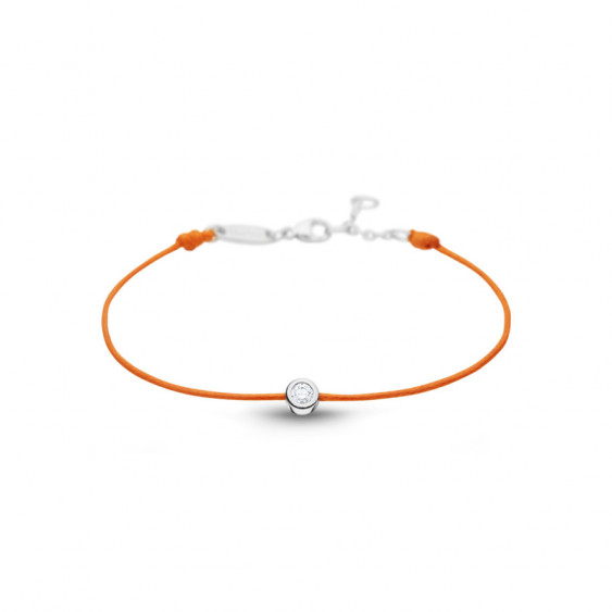 Clear Spirit bracelet from Elsa Lee Paris: one close set Cubic Zirconia 0,2ct on a orange cotton waxed lace