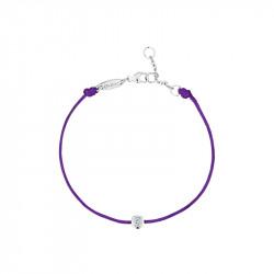 Clear Spirit bracelet from Elsa Lee Paris: one close set Cubic Zirconia 0,2ct on a purple cotton waxed lace