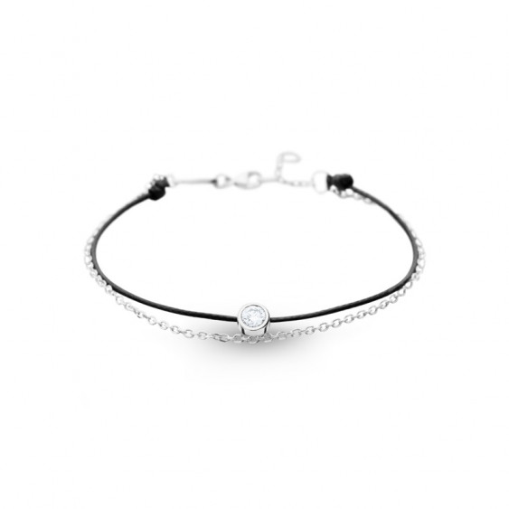 Elsa Lee Paris Clear Spirit bracelet, with close set Cubic Zirconia on black cotton waxed lace and silver chain