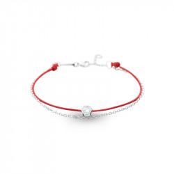 Bracelet Clear Spirit Elsa Lee Paris, oxyde de Zirconium serti clos sur cordon ciré rouge et chaîne en argent