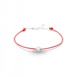 Elsa Lee Paris Clear Spirit bracelet, with close set Cubic Zirconia on red cotton waxed lace and silver chain