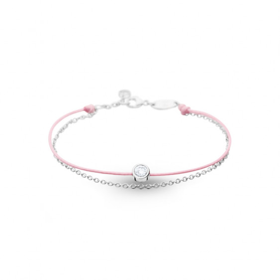 Elsa Lee Paris Clear Spirit bracelet, with close set Cubic Zirconia on pink cotton waxed lace and silver chain