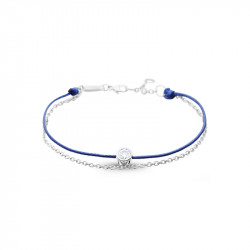 Elsa Lee Paris Clear Spirit bracelet, with close set Cubic Zirconia on blue cotton waxed lace and silver chain