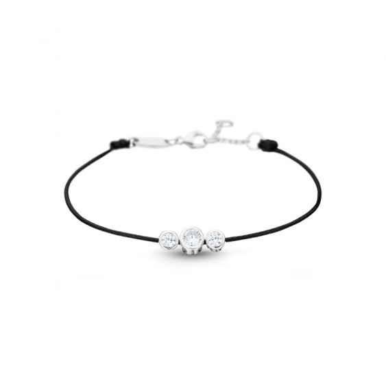 Clear Spirit bracelet from Elsa Lee Paris: three close set Cubic Zirconia on a black cotton waxed lace