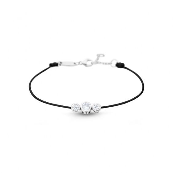 Bracelet cordon noir et 3 pierres en sertis clos en argent par Elsa Lee Paris