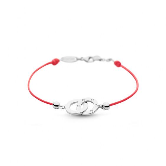 Bracelet Clear Spirit Elsa Lee Paris, motif entrelacé en argent avec 5 oxydes de Zirconium, cordon ciré rouge