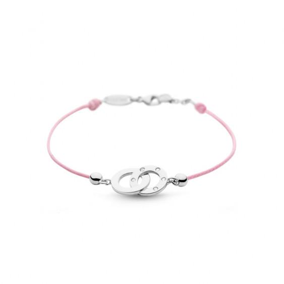 Bracelet Clear Spirit Elsa Lee Paris, motif entrelacé en argent avec 5 oxydes de Zirconium, cordon ciré rose