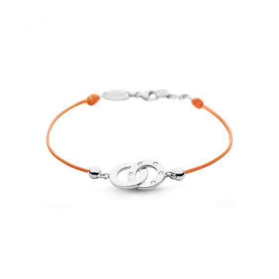 Bracelet Clear Spirit Elsa Lee Paris, motif entrelacé en argent avec 5 oxydes de Zirconium, cordon ciré orange