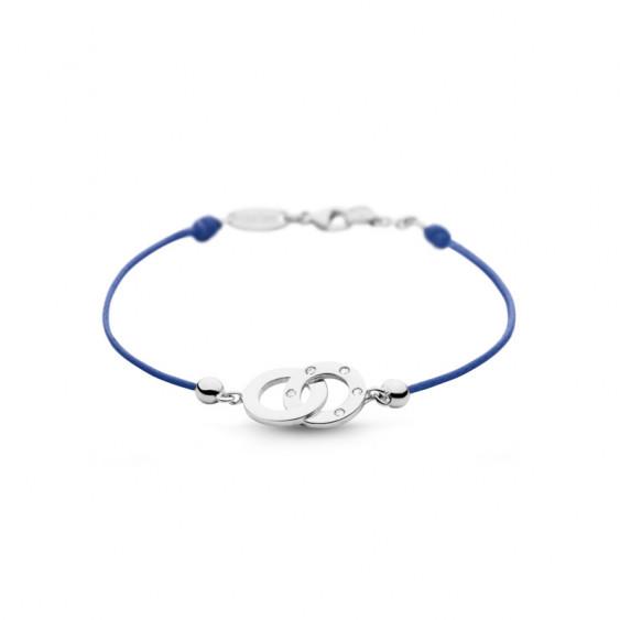 Bracelet Clear Spirit Elsa Lee Paris, motif entrelacé en argent avec 5 oxydes de Zirconium, cordon ciré bleu