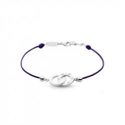 Bracelet Clear Spirit Elsa Lee Paris, motif entrelacé en argent avec 5 oxydes de Zirconium, cordon ciré violet