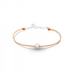 Bracelet Clear Spirit Elsa Lee Paris, oxyde de Zirconium serti clos sur cordon ciré orange et chaîne en argent