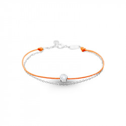 Elsa Lee Paris Clear Spirit bracelet, with close set Cubic Zirconia on an orange cotton waxed lace and silver chain