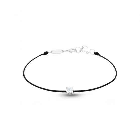 Bracelet Elsa Lee Paris, cordon noir sur 18cm et oxyde de Zirconium blanc serti griffes