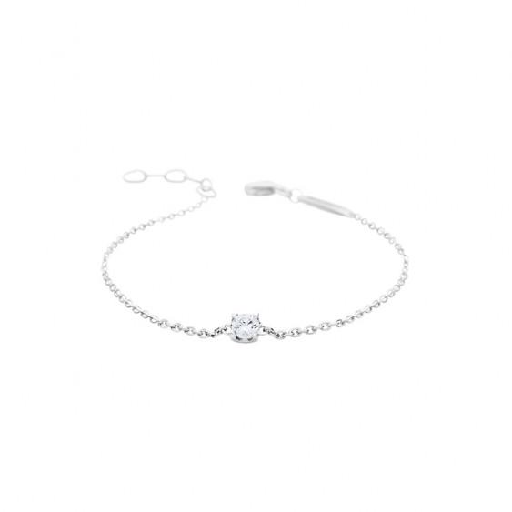 Bracelet Elsa Lee Paris, collection Tradition, chaîne en argent avec oxyde de Zirconium blanc serti griffe