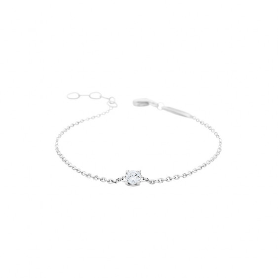 Elsa Lee Paris fine 925 sterling silver chain bracelet with diamond cut Cubic Zirconia