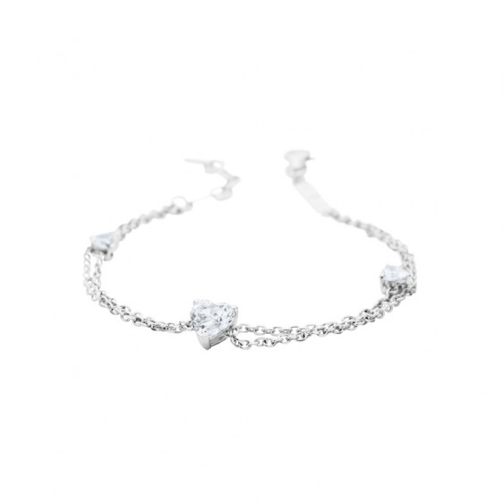 Elsa Lee Paris sterling silver 2 chains bracelet, with 3 heart shaped Cubic Zirconia