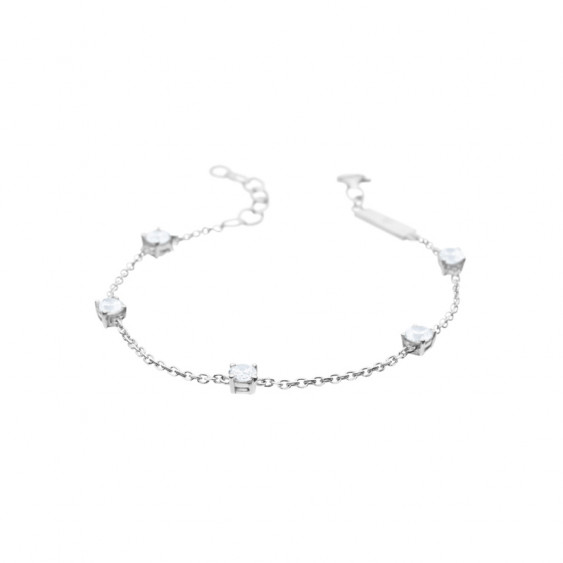 Bracelet Elsa Lee Paris, collection Tradition, chaîne en argent et 5 oxydes de Zirconium blancs