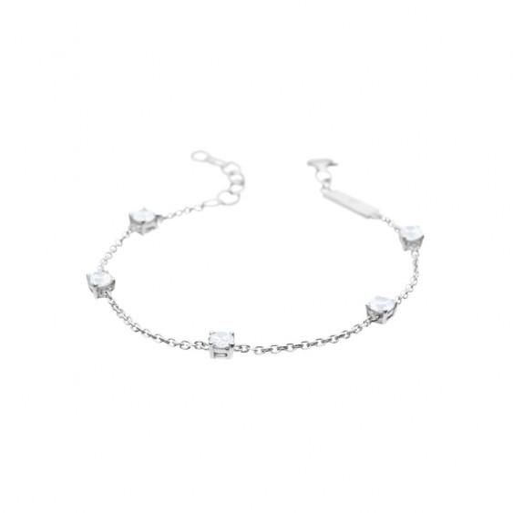Bracelet Elsa Lee Paris, collection Tradition, chaîne en argent et 5 oxydes de Zirconium blancs