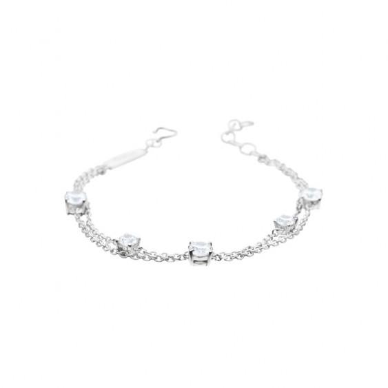 Bracelet Elsa Lee Paris, collection Tradition, chaîne en argent deux tours et 5 oxydes de Zirconium blancs
