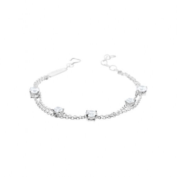 Elsa Lee Paris sterling silver 2 chains bracelet, with 5 princess cut clear Cubic Zirconia