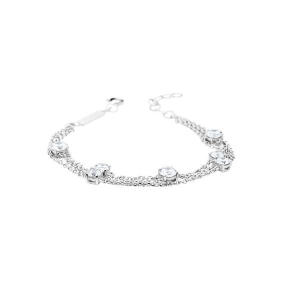 Elsa Lee Paris sterling silver 3 chains bracelet, with 7 princess cut clear Cubic Zirconia