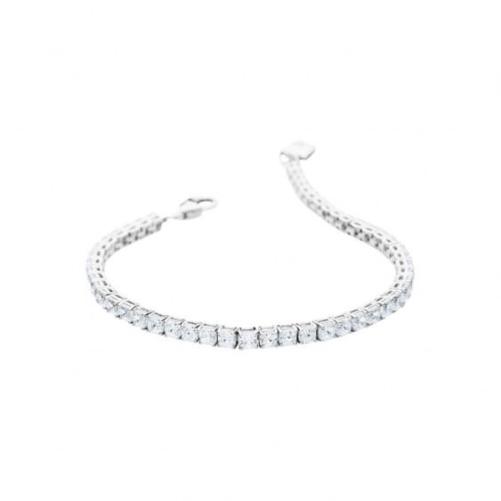 Elsa Lee Paris sterling silver bracelet, line of diamond cut Cubic Zirconia