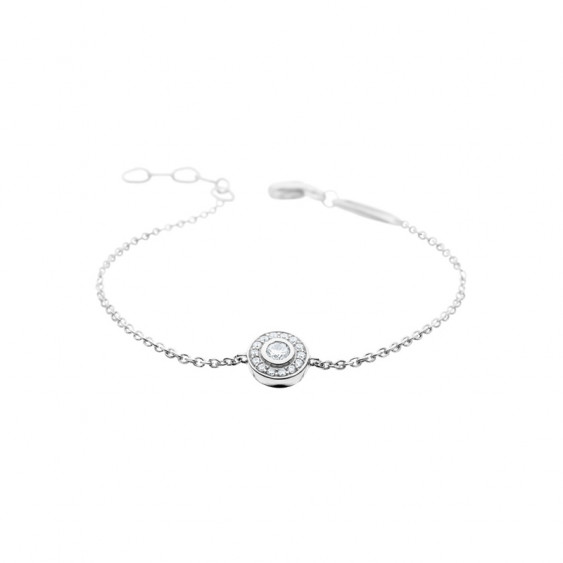 Elsa Lee Paris fine 925 sterling silver bracelet with one diamond cut Cubic Zirconia centerpiece surrounded by clear Cubic Zirco