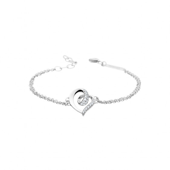 Elsa Lee Paris fine 925 sterling silver bracelet, 2 silver chains with a heart shaped pattern with Cubic Zirconia