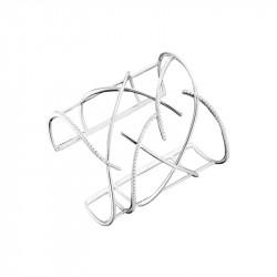 Brancelet Manchette Elsa Lee Paris, collection tendance, en argent motif branches croisées avec oxydes de Zirconium