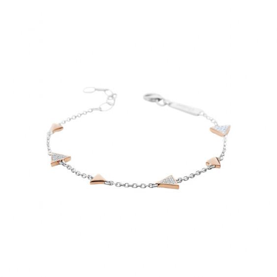 Bracelet Elsa Lee Paris, collection Tendance, chaîne en argent et motifs triangles rhodiés rose avec oxydes de Zirconium blancs