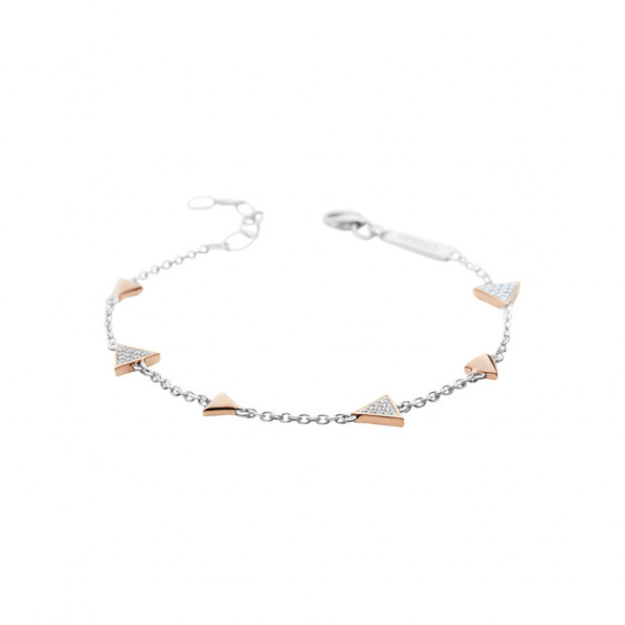 Elsa Lee Paris sterling silver bracelet with pink rhodium-plating triangles with 30 clear Cubic Zirconia