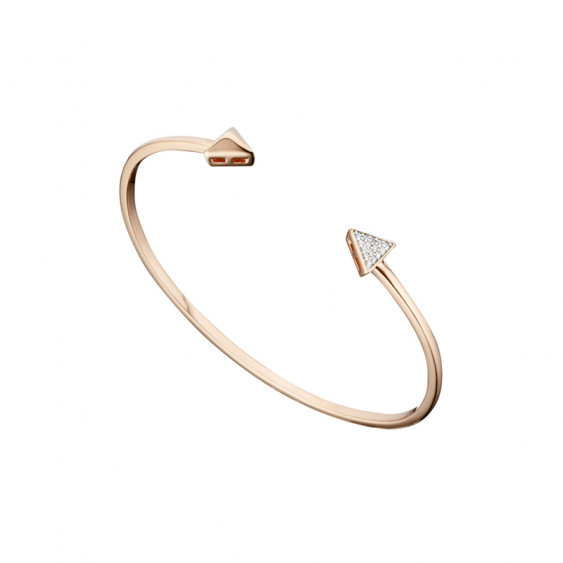 Rose gold arrow bangle bracelet in silver by Elsa Lee