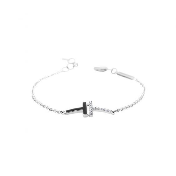Bracelet Elsa Lee Paris, collection tendance en argent 925 motif sur chaîne avec émail noir et oxydes de Zirconium blancs