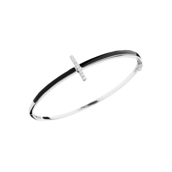 Elsa Lee Paris fine 925 sterling silver bangle with black enamel and 9 clear Cubic Zirconia