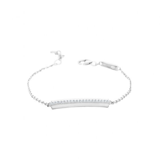 Bracelet Elsa Lee Paris avec chaîne en argent massif, motif ligne droite pavée d'émail blanc et d'oxydes de Zirconium