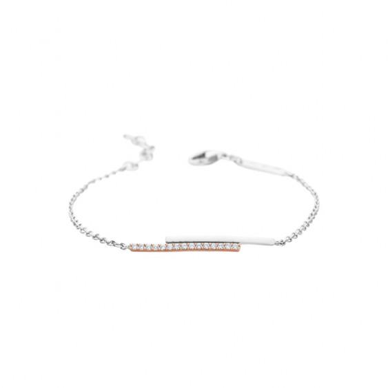 Elsa Lee Paris fine 925 sterling silver bracelet, white enamel and 20 clear Cubic Zirconia on silver chain