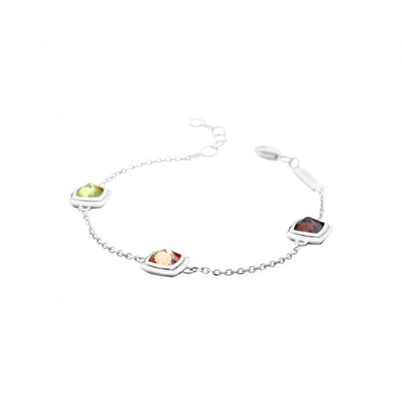 Bracelet Camélia Elsa Lee Paris, en argent et pierres verte, marron et champagne sertis clos