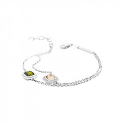 Elsa Lee Paris fine 925 sterling silver bracelet - 2 close set champagne and green stones with 24 Cubic Zirconia