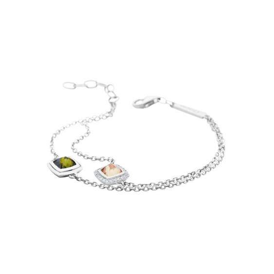 Bracelet Camélia chez Elsa Lee Paris, en argent 925 et pierres verte et champagne sertis clos, avec oxydes de Zirconium blancs