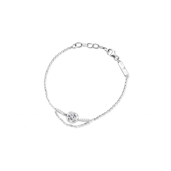Elsa Lee Paris fine 925 sterling silver bracelet with 1 Cubic Zirconium 5mm and 8 small clear Zirconium
